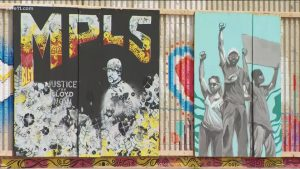 Woman helps preserve George Floyd plywood art murals